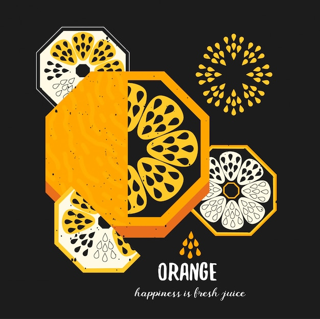 Simple ilustración de fruta naranja decorativa