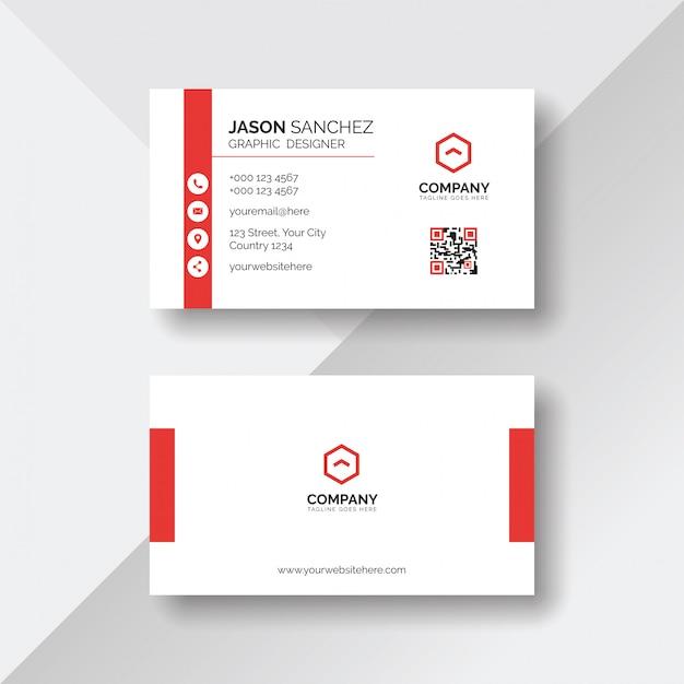 Simple y limpia tarjeta blanca con detalles en rojo.