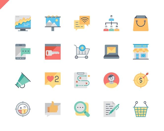 Simple set marketing flat icons para aplicaciones web y móviles.