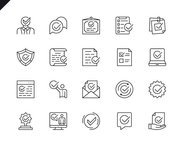 Simple set of approve related vector line icons.