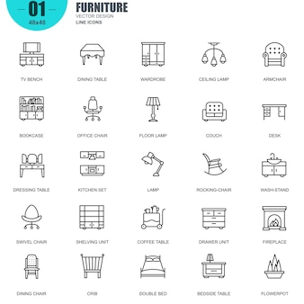 Simple set of furniture relacionados con vector line icons.