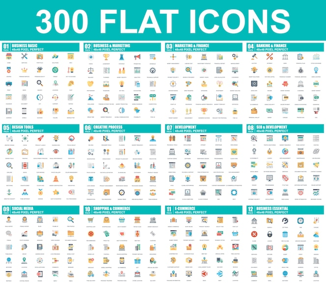 Simple set of vector flat icons