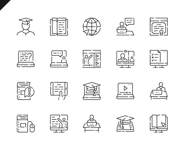Simple set online education line icons