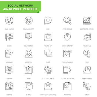Simple set social media and network line icons