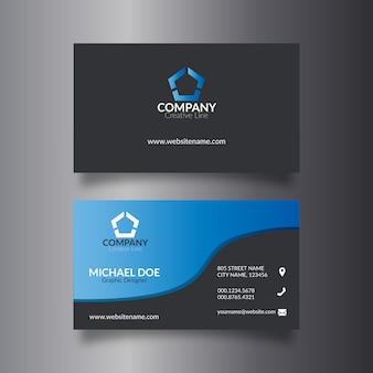 Simple tarjeta de visita azul y negra