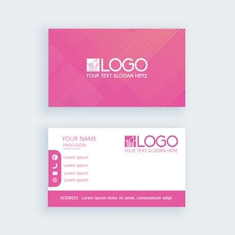 Simple tarjeta de visita rosa plantilla o tarjeta de visita