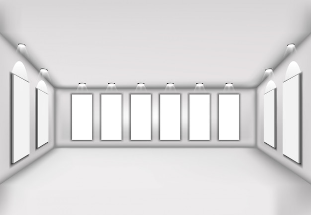 Simple vector de ilustración 3d interior con pared en blanco