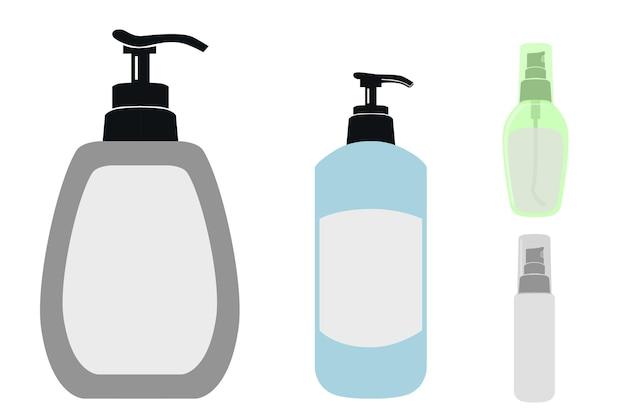 Simulacro de vector simple, etiqueta en blanco, desinfectante de manos de 4 estilos y jabón líquido, aislado en blanco