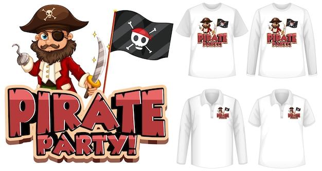 Simulacros de camisa con icono de fiesta pirata