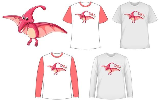 Simulacros de camisa con personaje de dibujos animados de dinosaurios
