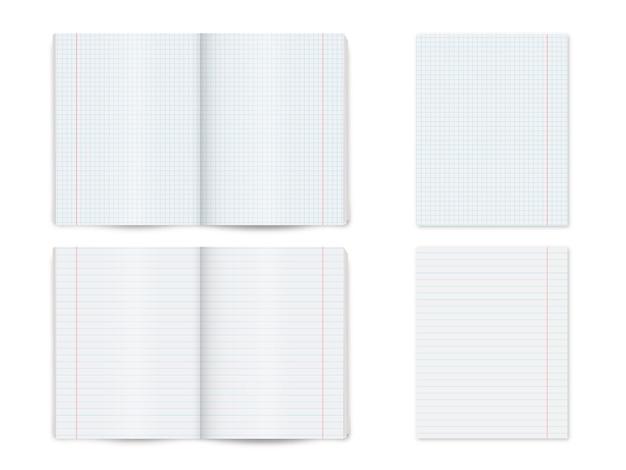 Simulacros de cuaderno, bloc de notas, libro aislado