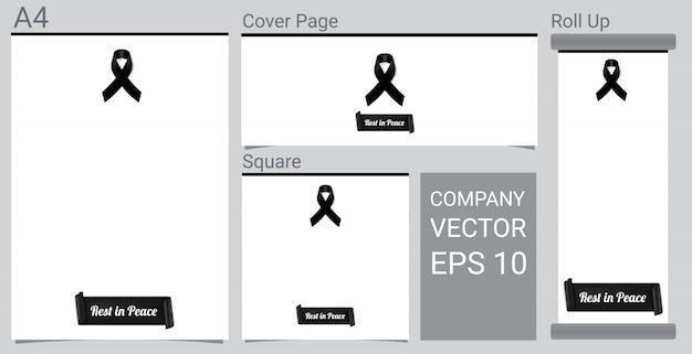 Simulacros de símbolo de luto con cinta negra sobre fondo blanco banner