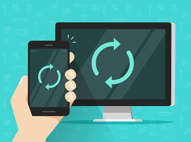 Sincronización de ilustración de teléfono celular o teléfono móvil y computadora