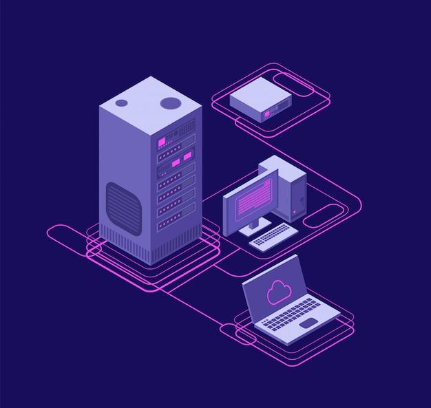 Sincronización informática, gestión de redes de datos. dispositivos isométricos, servidores de red. tecnología de almacenamiento en la nube