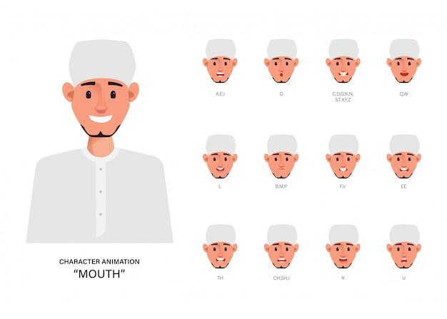 Sincronización de labios con animación de boca árabe o musulmán.
