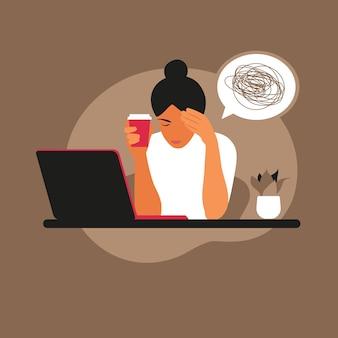 Síndrome de agotamiento profesional. trabajador frustrado, problemas de salud mental. ilustración de vector de estilo plano.