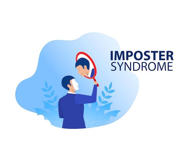 Síndrome del impostor empresario sosteniendo un espejo con sombra de miedo detrás. ansiedad y falta de confianza en uno mismo en el trabajo, la persona que finge es otro concepto