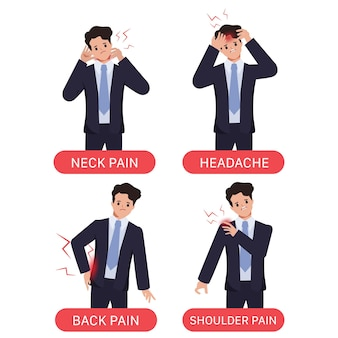Síndrome de oficina con síntomas de dolor de empresario