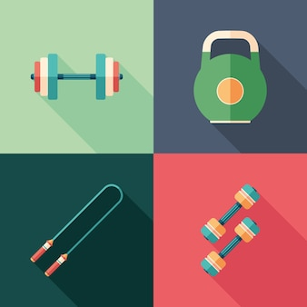 Single sports flat square icons with long shadows.