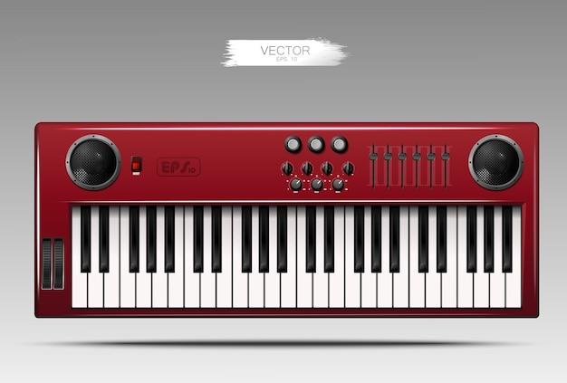 Sintetizador rojo realista.