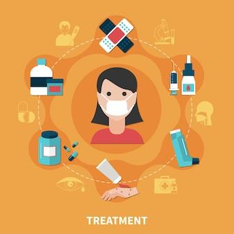 Síntomas de alergia y diversas formas de concepto de tratamiento.