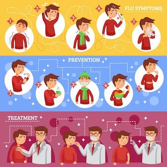 Síntomas de la gripe banners horizontales