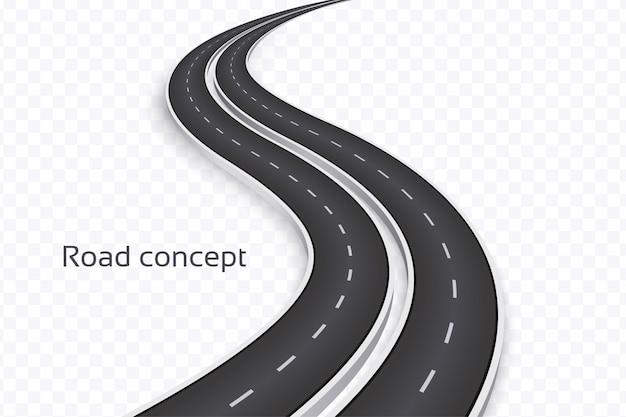 Sinuoso camino en 3d sobre un fondo transparente. plantilla de línea de tiempo