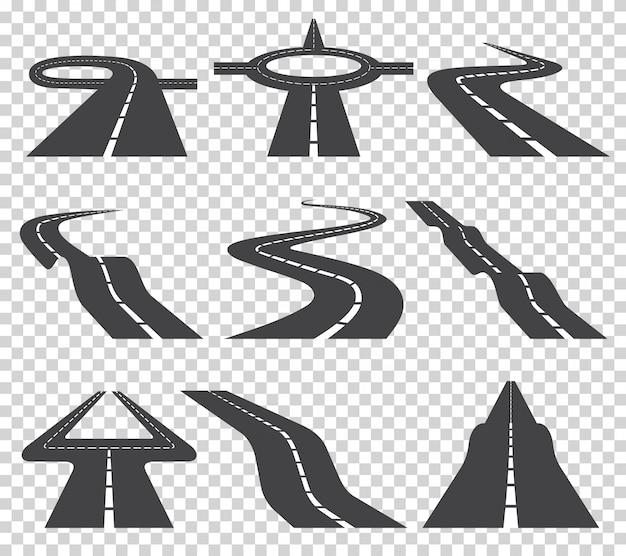 Sinuoso camino curvo o autopista con marcas. dirección, conjunto de transporte.