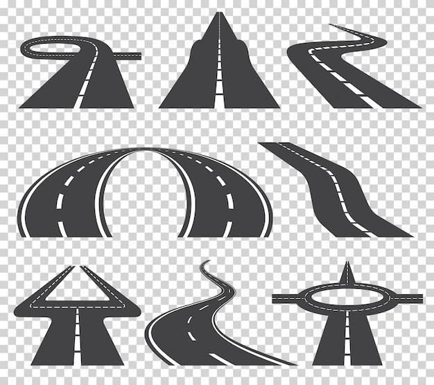 Sinuoso camino curvo o carretera con marcas.