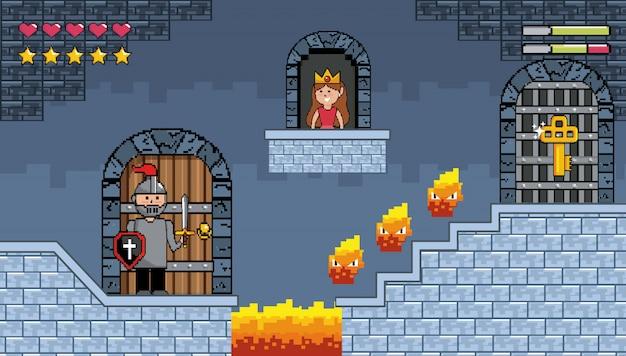 Sir chico dentro del castillo con carácter de fuego y princesa en la ventana