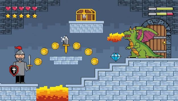 Sir chico y dragón escupe fuego con cofre y monedas