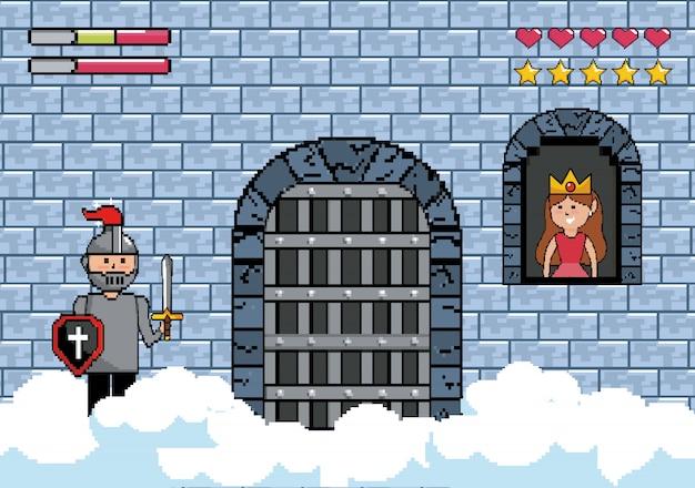 Sir chico en la puerta del castillo y princesa en la ventana.