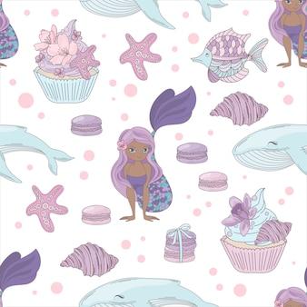 Sirena y ballena sea girl seamless pattern