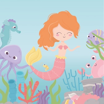 Sirena caballito de mar pulpo cangrejo camarones coral dibujos animados bajo el mar ilustración vectorial
