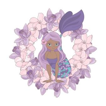 Sirena de chocolate guirnalda de flores florales
