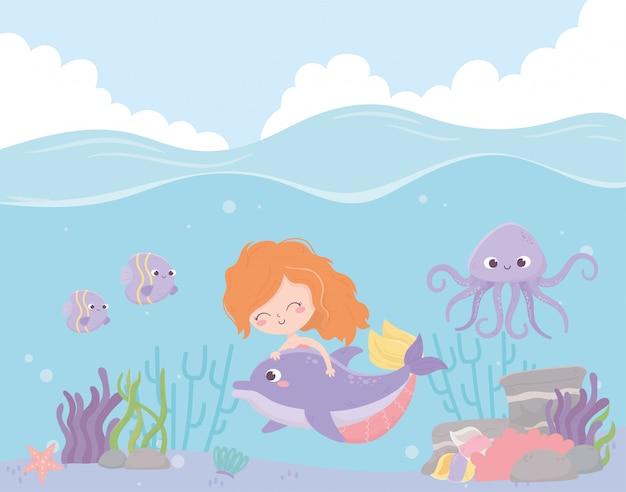 Sirena con delfines pulpo peces coral dibujos animados bajo el mar ilustración vectorial