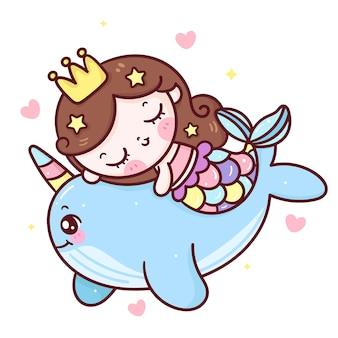 Sirena de dibujos animados abrazo narwhal animal kawaii