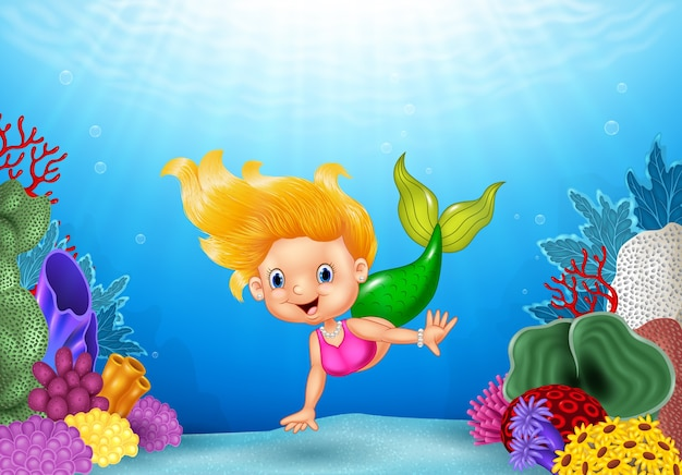 Sirena de dibujos animados con hermoso mundo submarino