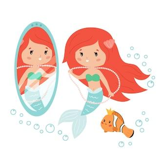Sirena de dibujos animados mirando en el espejo. la sirena y el pez payaso se decoran con joyas.
