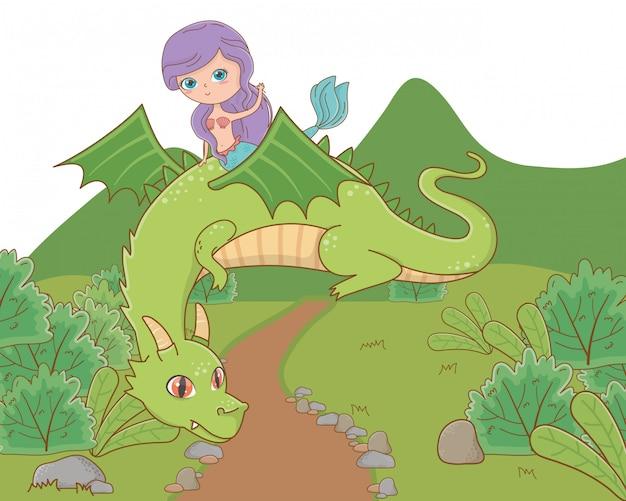 Sirena y dragón de cuento de hadas.