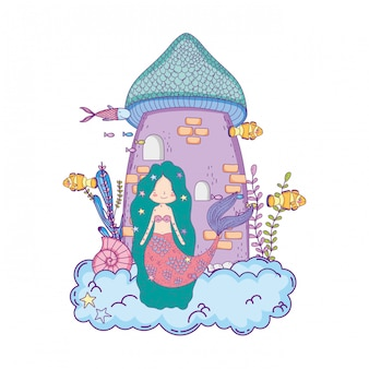 Sirena con escena submarina castillo