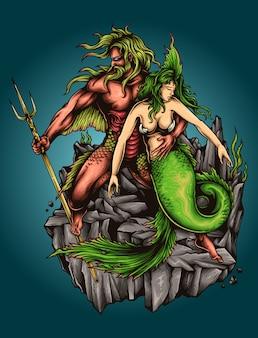 Sirena y fishman dios poseidón mitología