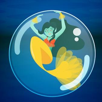 Sirena jugando dentro de una burbuja