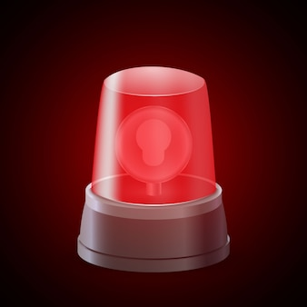 Sirena de luz intermitente roja realista