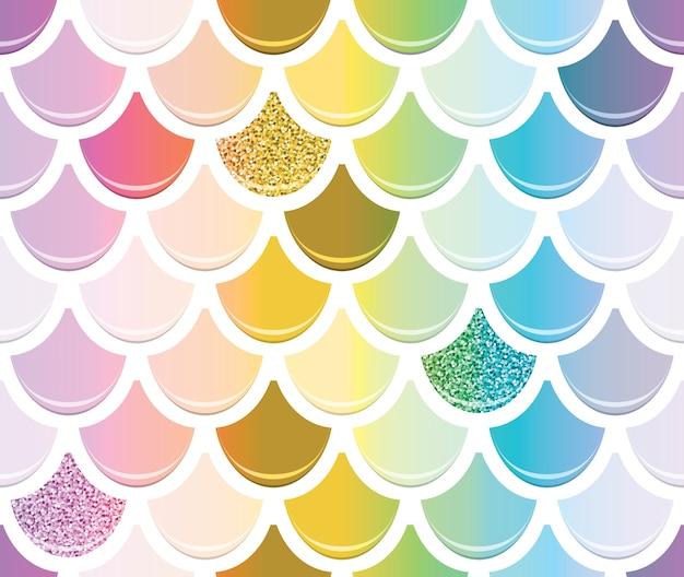 Sirena moda de patrones sin fisuras con elementos de oro brillo.