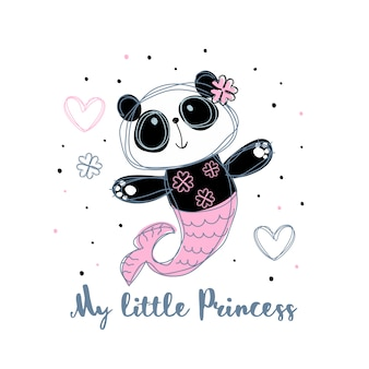 Sirena panda dulce niña. pequeña princesa.