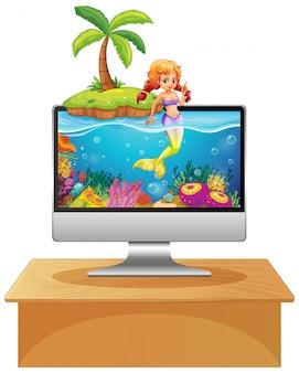 Sirena en la pantalla de la computadora