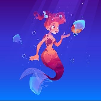 Sirena con pez globo en bolsa de plástico bajo el agua
