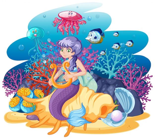 Sirena sentada sobre concha y animal marino en estilo de dibujos animados