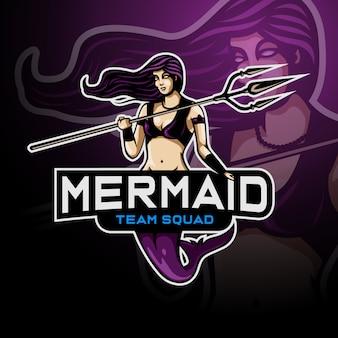 Sirena sosteniendo un tridente lanza logo esport